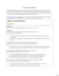 Sample Resume For A Teacher Job Resume Online Builder