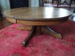 antique tiger oak round pedestal coffee table 42 diameter refinished round oak coffee table nz