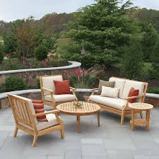 teak wood patio furniture design with small round table