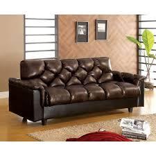 f102120db dark brown leather like futon sofa w storage