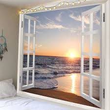sea wave sunset beach 3d window wall tapestry colorful w91 inch l71 inch