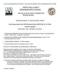 November 17 2016 Rules Elections Committee Minutes North