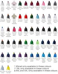 Hoodie Colour Chart Awdis Varsity Hoody Awesome Since