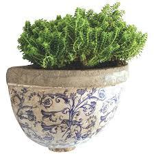half round aged ceramic wall planter box diy