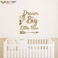 dream big little one quotes wall stickers home decor baby nursery bedroom wall decal art on dream big little one wall art with dream big little one quotes wall stickers home decor baby nursery