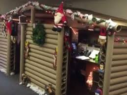 office cubicle roof. Office Cubicle Turned Into Cozy Christmas Cabin Roof