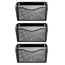 veesun 3 pack wall mount single pocket file holder organizer black