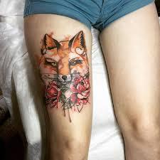 голова лисы и цветы фото татуировок