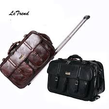 letrend new men business travel bag multi function suitcase leather carry on women rolling luggage trolley boarding bag trunk travel bags