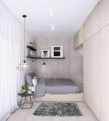 modern small bedroom ideas podium bed wardrobe neutral color gray bedding set