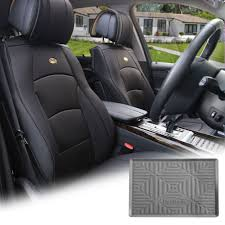 pu leather seat cushion covers front bucket black w gray dash mat for auto 0
