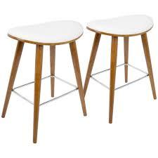 white saddle stool. Interesting White Lumisource Saddle 26 In Walnut And White Faux Leather Counter Stool Set  Of 2 To