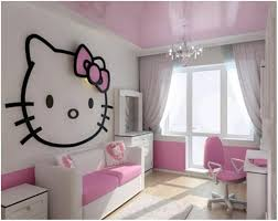 Hello Kitty Bedroom Sets Also Pink White Combinations Plus Oversized Wall  Decal And White Desk Furniture And Window Curtain Ideas Plus Corner Vanity  Drawer ...