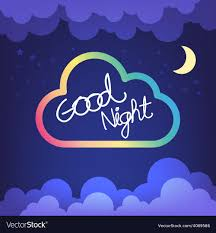 good night letter with cloud and sky vector image
