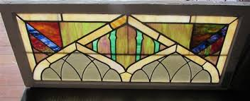 4493 vintage stained glass window