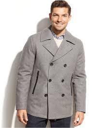 men s fashion coats pea coats grey pea coats michael michael kors michl michl kors derby wool blend pea coat