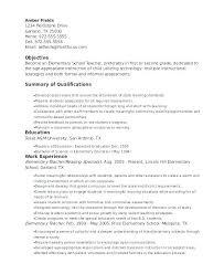 Sample Elementary School Teacher Resume Elementary Teacher Resume