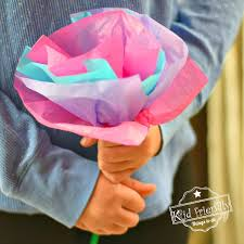 Make Easy Paper Flower Diy Tissue Paper Flowers For Kids To Make With Pipe Cleaners