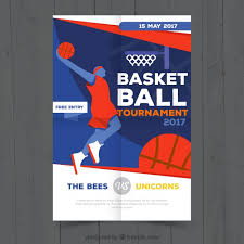 Basketball Tournament Brochure With Player Vector Free Downl On ...