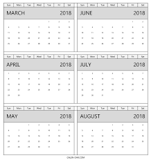 Blank March To August Calendar 2018 Template Six Monthly Calendar