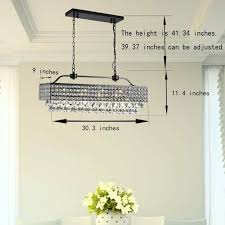 5 light crystal iron rectangular dining room chandelier antique black finish