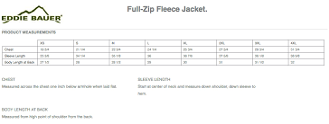 Fleece Jacket Size Chart Mens Eddie Bauer Full Zip Fleece Jacket