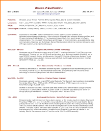 Resume Summary Of Qualifications Example Resumess Scanbite Co