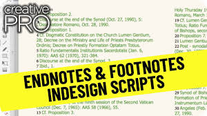 Creativepro Video How To Create Footnotes From Endnotes In Indesign