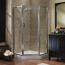 foremost tides neo angle shower door in brushed nickel with clear glass