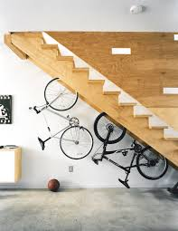 Indoor Bike Storage Creative Home Bike Storage Design Under Wooden Stairs Ideas