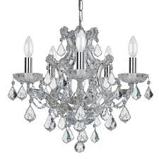 elight design crystal 20 inch six light chrome mini chandelier