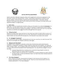 gothic writing assignment gothic elements offended