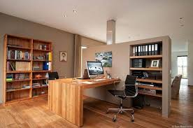 home office units. Modern Home Office With Wooden Desk And Shelving Units For Two