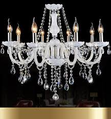 crystal chandelier white 6 8 10 lights candle pendant lamp with beaded chains