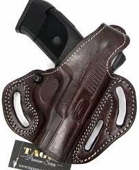 tagua premium 2 way thumb break rh owb holster brown leather for glock 19 23