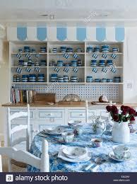 Themed Kitchen Cornishware On Kitchen Dresser In Blue And White Themed Kitchen
