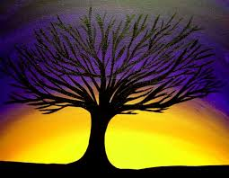 purple painting deep purple sunset behind tree silhouette by edmund akers