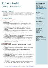 Qc Resume Samples Quality Control Analyst Resume Samples Qwikresume