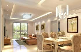 lounge dining using downlights inverted leds ceiling light and chandelier