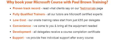 Microsoft Office Training Certificate Paul Brown Training Ltd Nationwide Microsoft Specialists