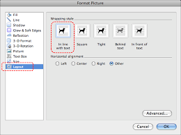image demonstrates location of layout option and in line with text option in format picture dialog