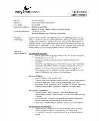Head Start Teacher Assistant Sample Resume Cool Head Start Lesson Plan Template Example Of Resume For Teachers