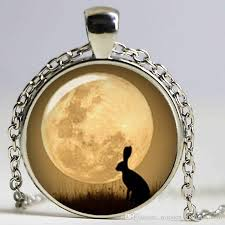 whole bunny necklace full moon pendant jewelry glass dome pendant necklace pendant necklaces for women personalized pendant necklaces from