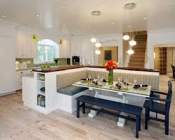 kitchen island with bench seating. Kitchen - Contemporary Idea In Indianapolis With Wood Countertops, Raised-panel Cabinets, Island Bench Seating M