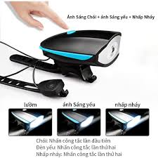 Đèn pha xe đạp, đèn pha sạc USB tích hợp còi cho xe đạp - Top Xe Đạp