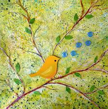 bird painting cheerful chirpy singing yellow bird by carla parris
