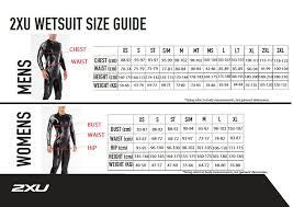 2xu Sizechart Wetsuits Sports Rent
