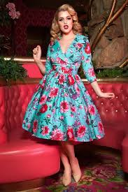Pin Up Girl Clothing Com Unique IllGottenGains The Birdie Swing Dress In Turquoise By Pinup Couture
