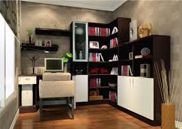 fascinating contemporary home office design ideas presenting elegant l shape bookshelves in dark accent integrate charming decorating ideas home office space