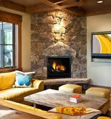 image of stacked stone corner fireplace